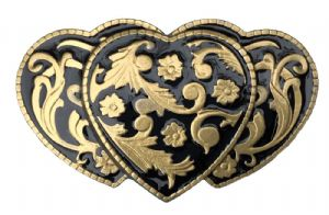 3 Hearts Floral (Gold and Black) Belt Buckle + display stand. Code DA1